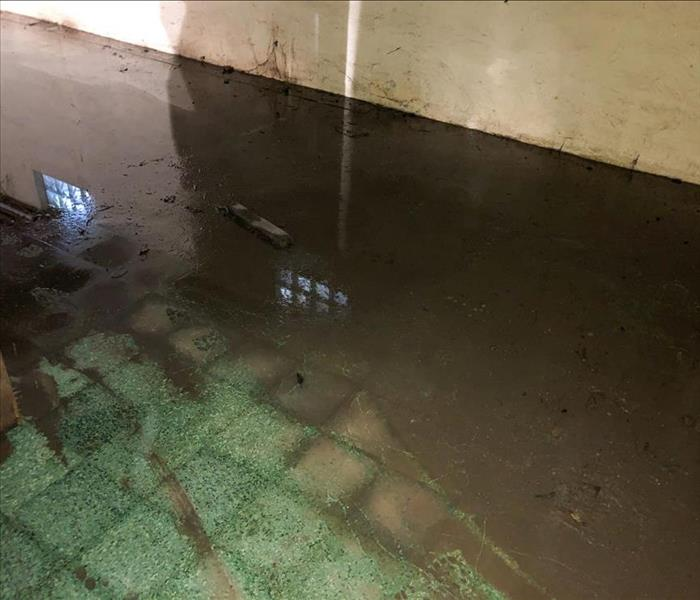Standing water in a basement