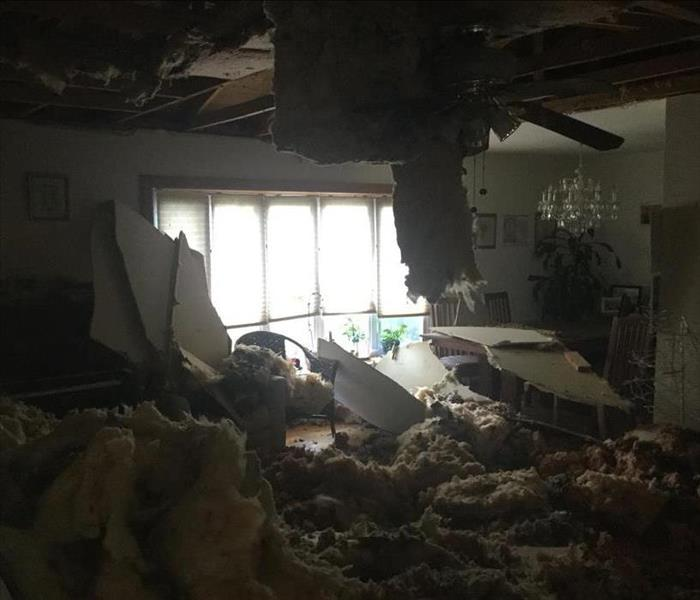 Ceiling collapse due to a water leak