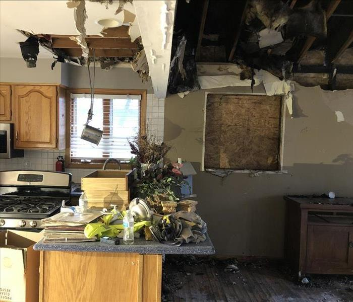 Fire damage in a kitchen of a local house