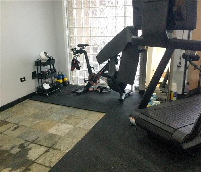 Flood damage in a gym in Mount Prospect, IL