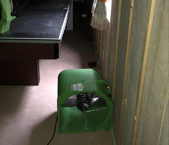 Drying equipment setup in the basement of a house