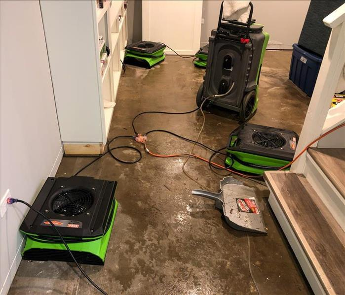 Drying equipment setup to dry standing water