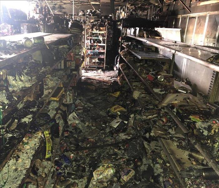Aftermath of a fire in a convenience store